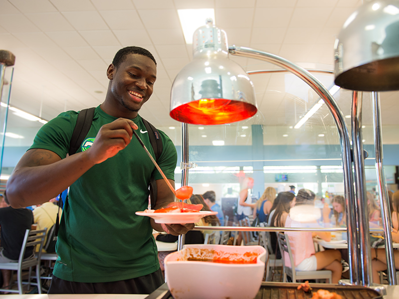 Students enjoy dining services at the LBC